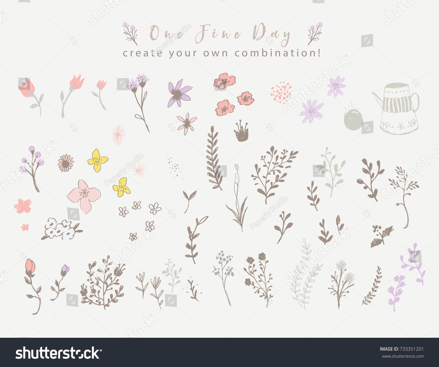Violet And Brown Floral Elements Vector Poster With Rustic Flowers Greeting Card Soft Background Pastel Color