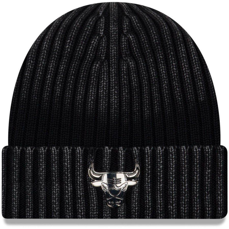 f0eafb2b70e Men s Chicago Bulls New Era Black Winter Wind Cuffed Knit Hat