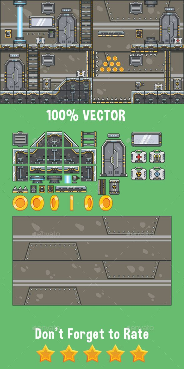 Spaceship Tileset (2D Side Scrolling Game Platformer) The main file
