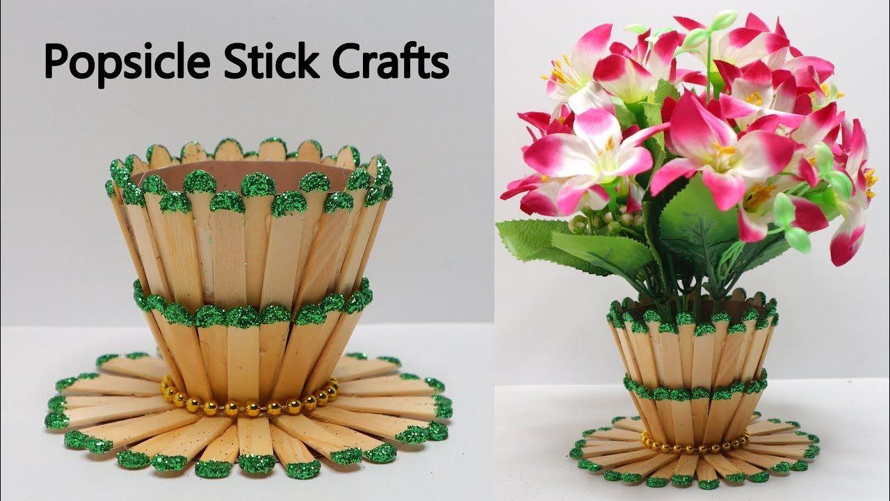 Ide Kreatif Vas Bunga Dari Stik Es Krim Popsicle Stick Craft Em