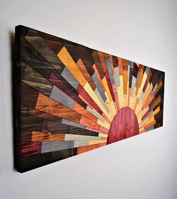 """Wood wall art – """"EDGE of THE DAY"""" 36×12 – wall art handcrafted by Jeremy Gould, rustic modern sun art home decor wood wall hanging"""