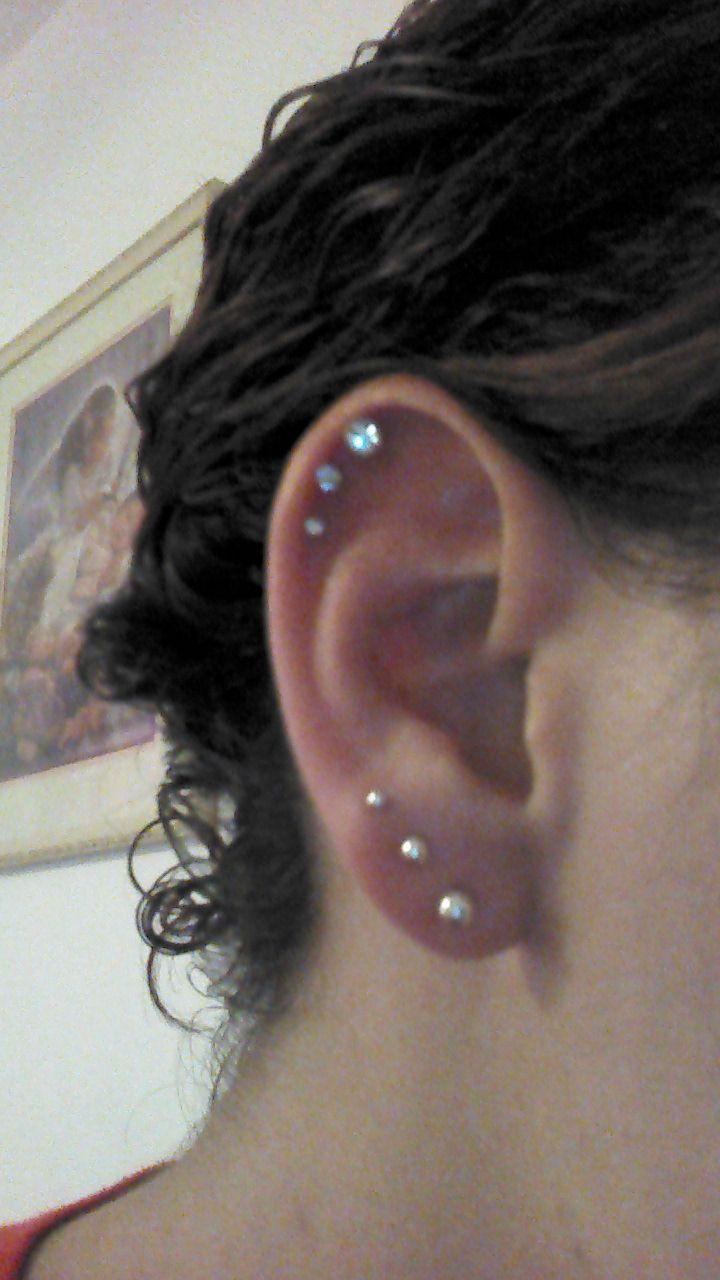 Triple Cartilage Piercing … | Pinteres…