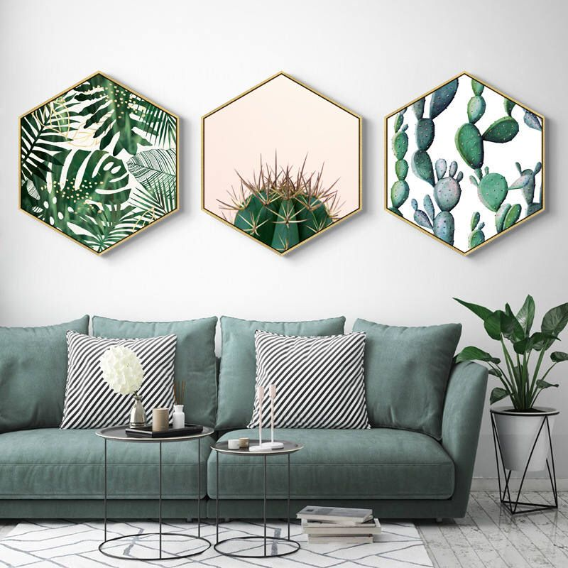 Photo of Home Hexagon Green Plant painting, Plant Framed art, Christmas gift, living room decor, gift for her, home decor, gift for women,wall art