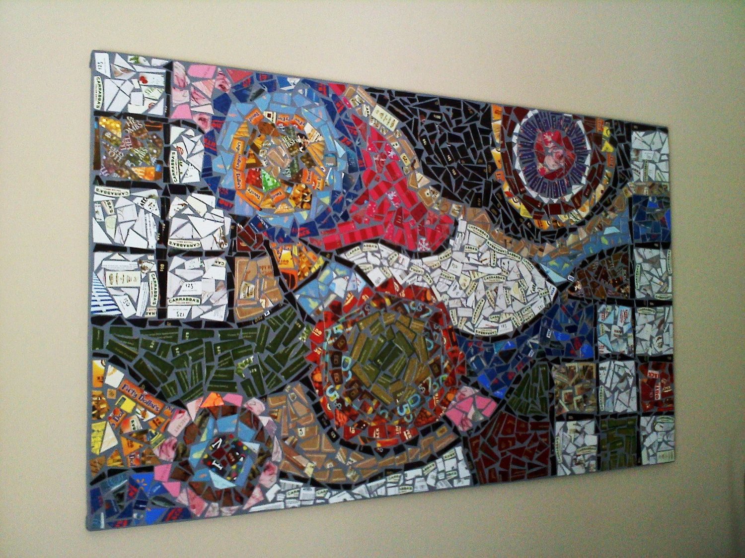 Large recycled gift card mosaic abstract art 120000