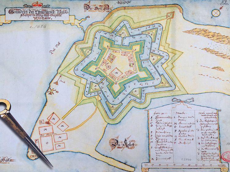 Карта крепости-звезды Пиллау