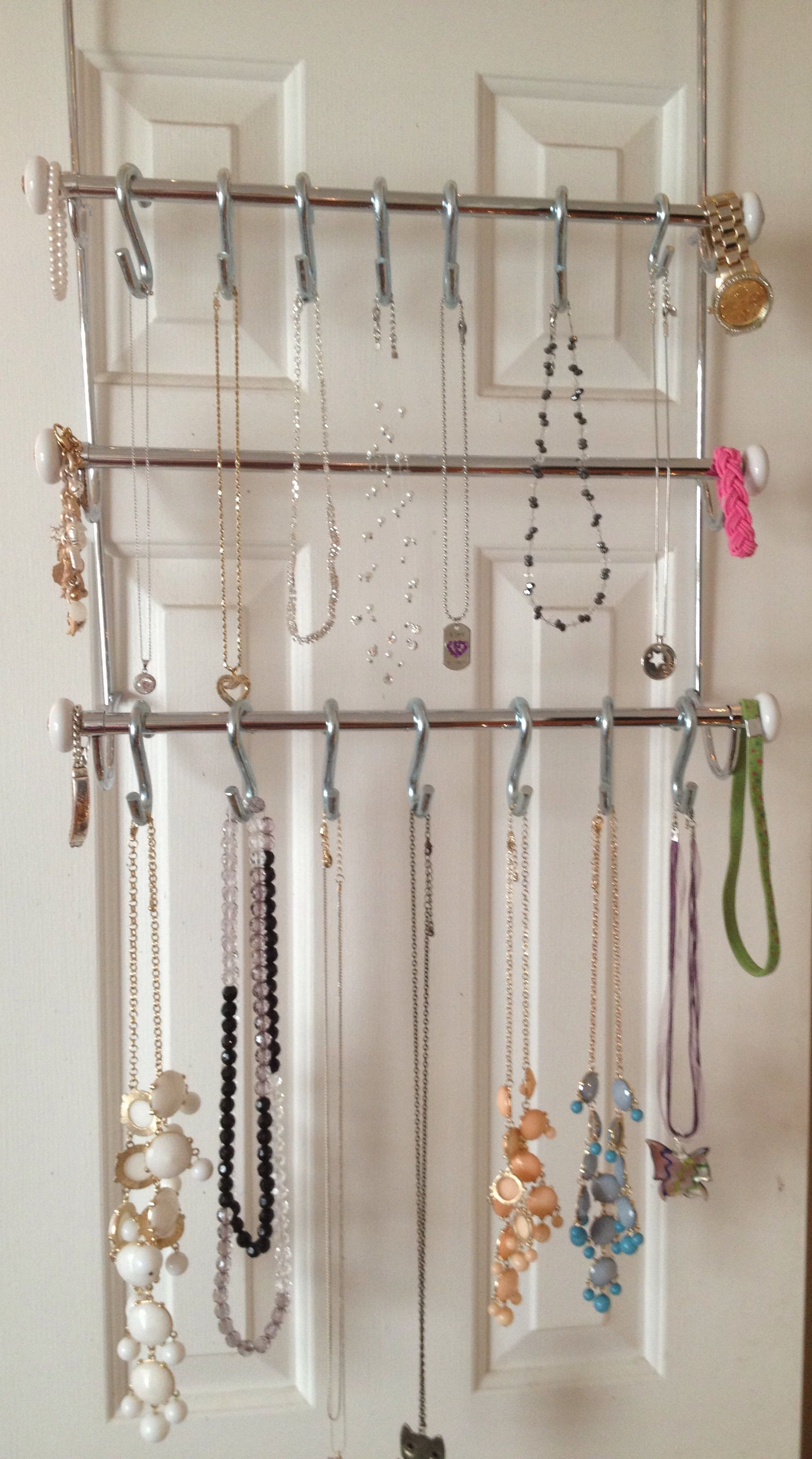 Jewelry Organizer   Made With A Three Rod Over The Door Towel Rack And S  Hooks