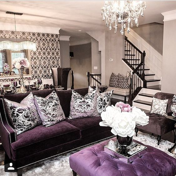 Hollywood Regency Interior Decor Purple Living Room Home Decor