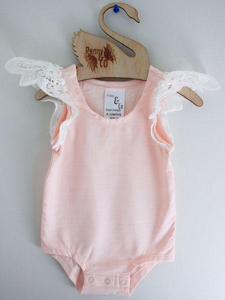 Blushing Peach Angel Wing Onesie Short Sleeve Baby Girl