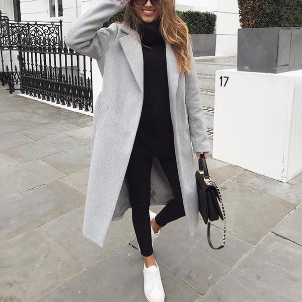 Damenmode reine farbe umlegekragen langarm mantel   – Ενδυμασία