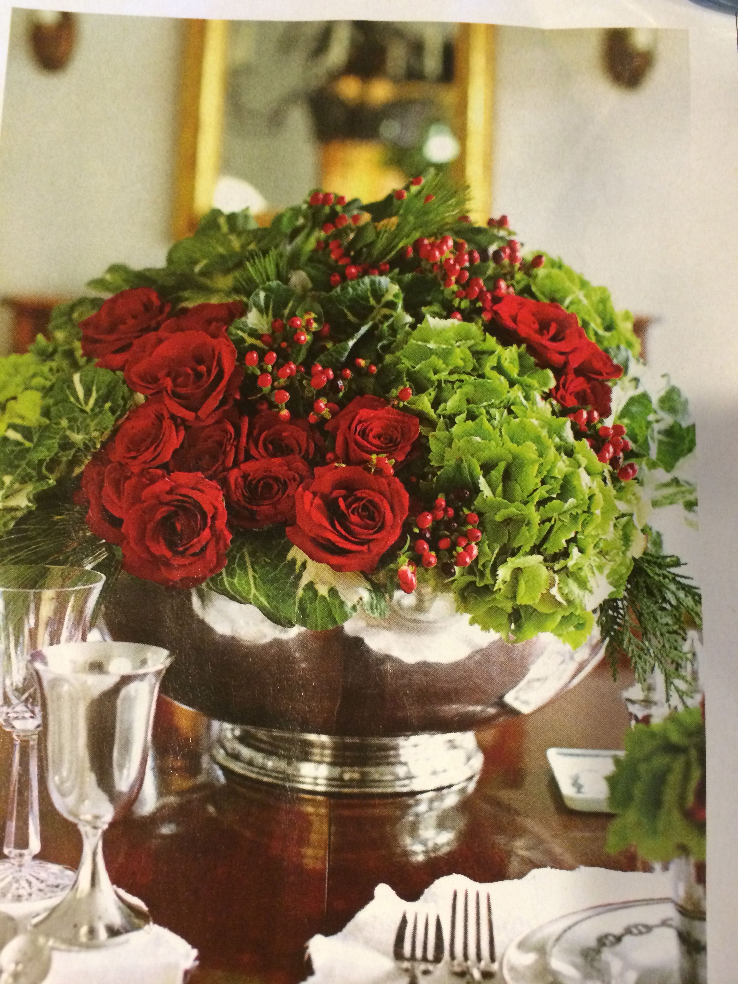 How To Arrange In A Low Silver Bowl Christmas Centerpieces Christmas Decorations Christmas Flower Arrangements