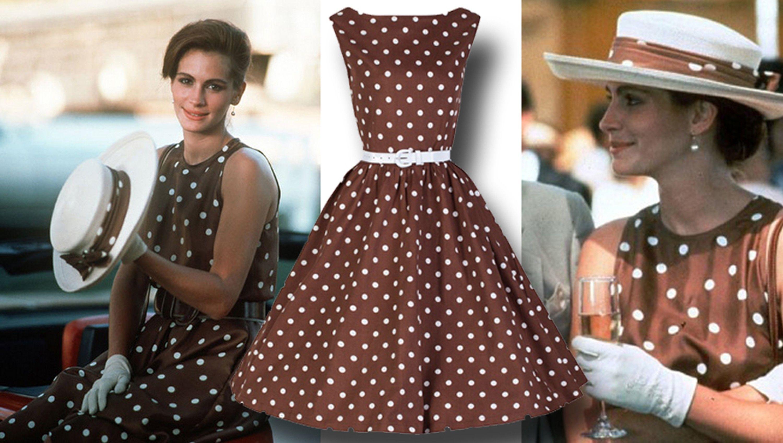 Pretty\' woman 1950\'s style 1980s print brown polka dot dress ...