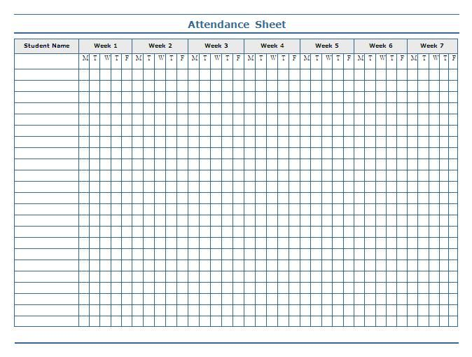 classroom charts printable – Printable Attendance Sheet for Teachers
