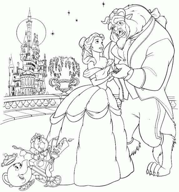 Princesas Disney dibujos para colorear  Bella y Bestia  nios