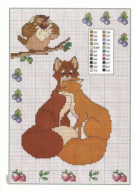 Cross Stitch Pattern Of The Fox And The Hound Walt Disney 3