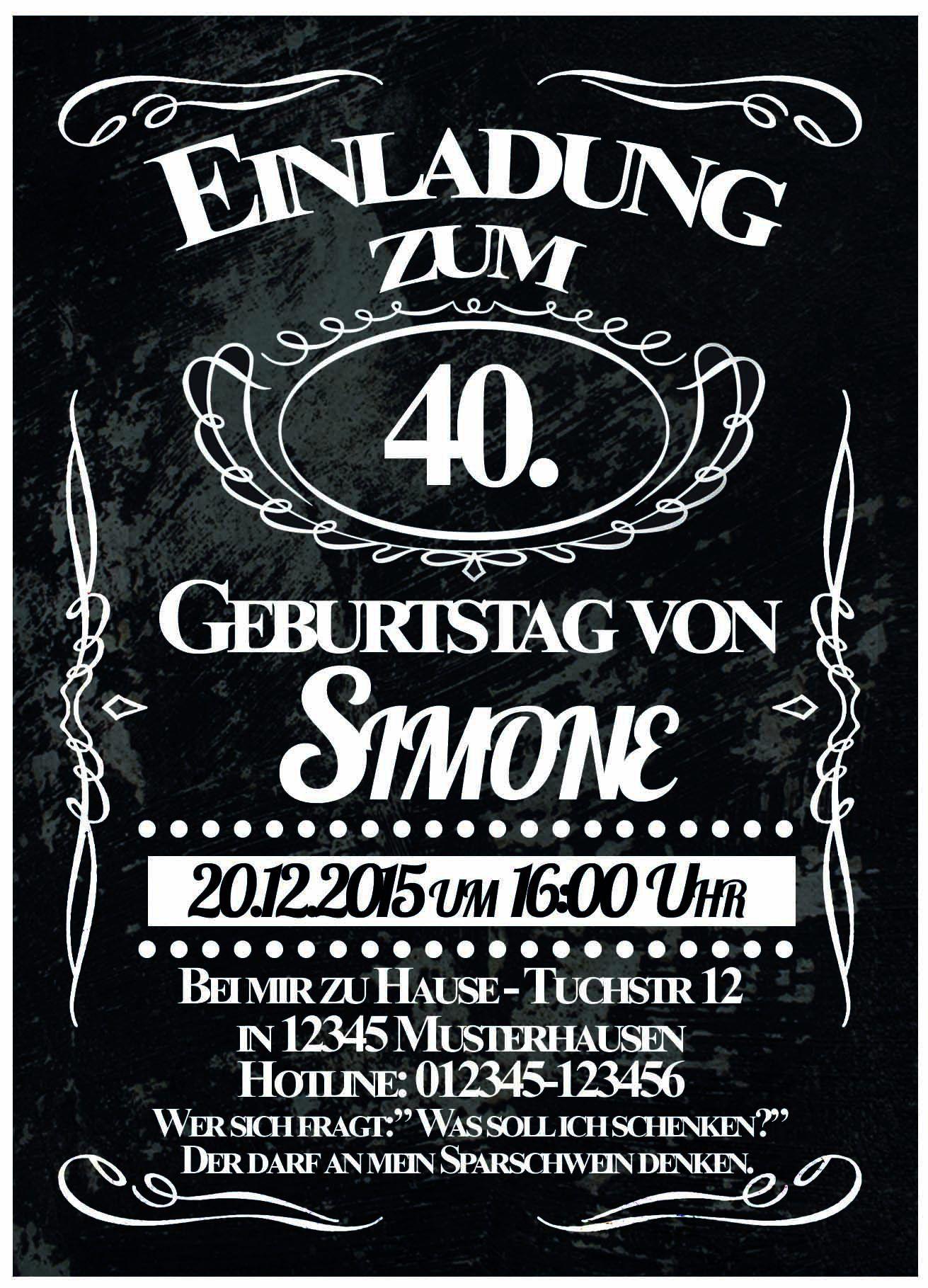 The Wonderful Einladung Zum 40 Geburtstag