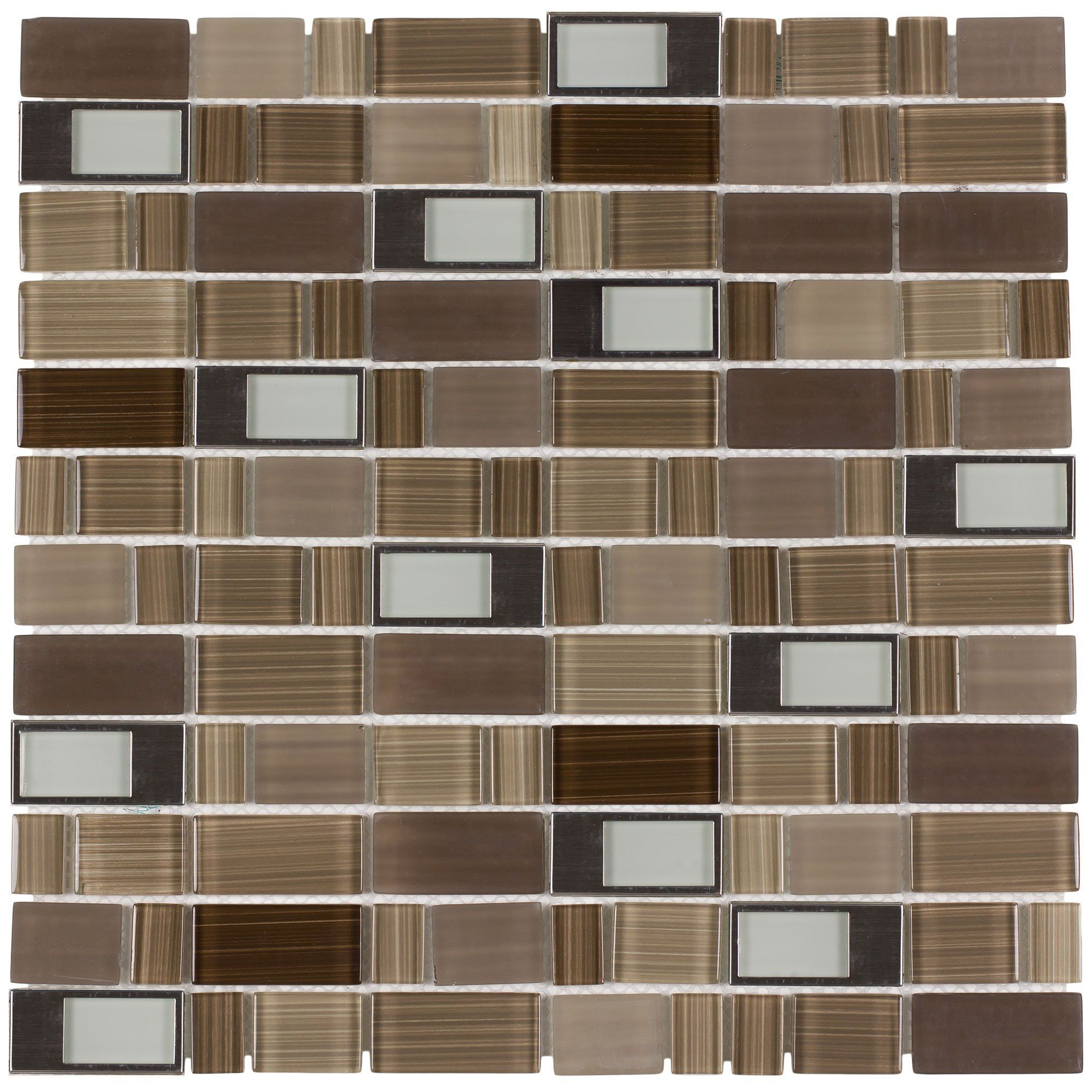 - MTO0288 Modern Rectangles Brown Gray Glossy Glass Metal Mosaic