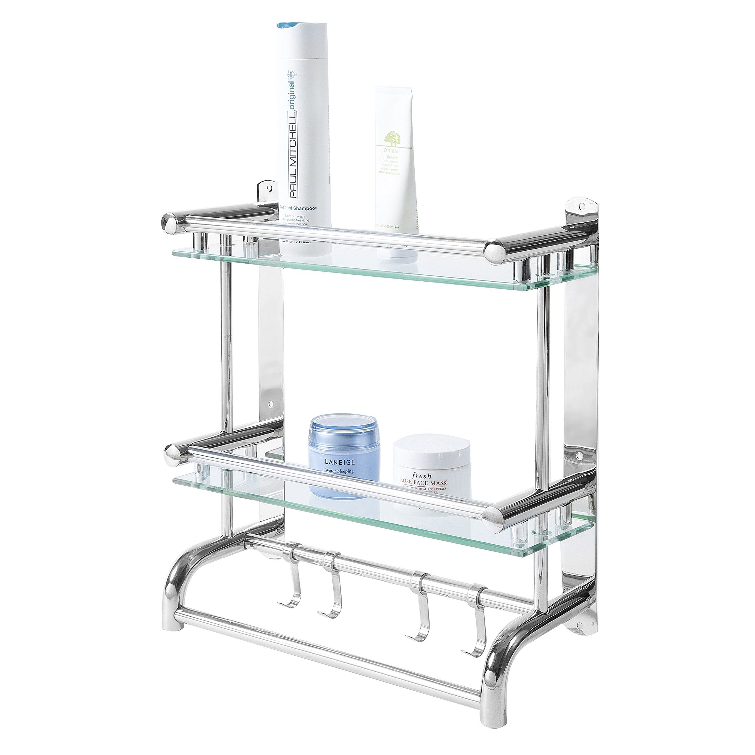 Mygift Wall Mounted Stainless Steel Bathroom Shelf Rack 2 Tier Glass Shelves And 2 Towel B In 2020 Stainless Steel Bathroom Bathroom Shelf Decor Bathroom Wall Shelves