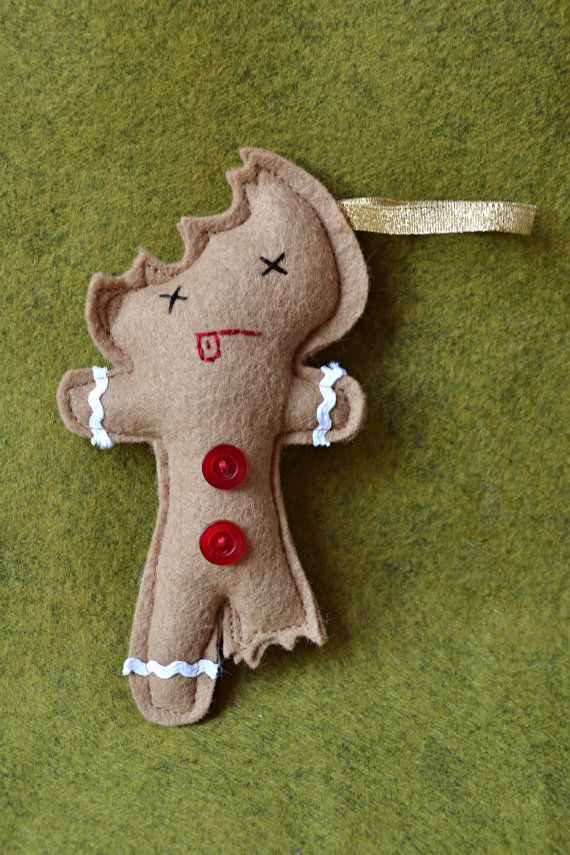 Eaten Felt Gingerbread Christmas Holiday Ornament - Dead Face ...