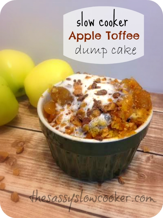 This Toffee Apple Dump Cake Recipe in the slow cooker is so easy, and it\u2019s especially perfect for a brisk cold day. Simple Cake for everyday  #cakewithcream  #food