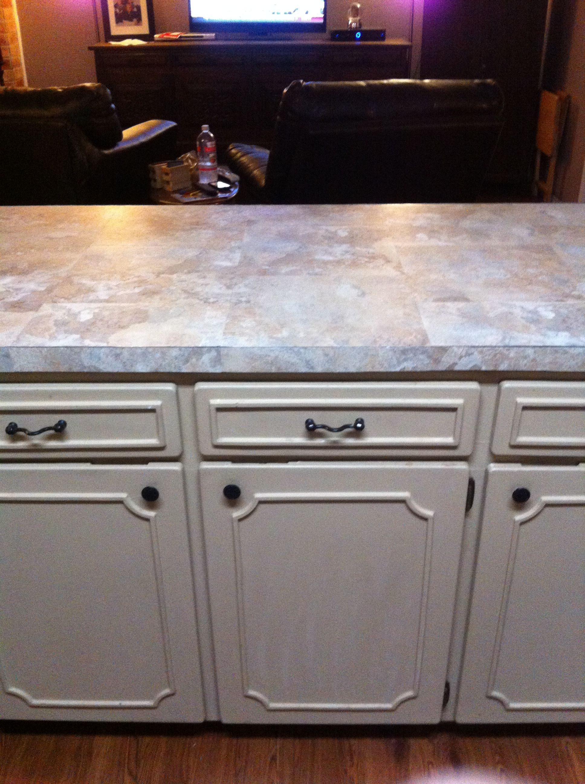 Pin By Mikaela Hall On My Apartment 3 Stick On Tiles Redo Kitchen Counter Tops Countertop Redo