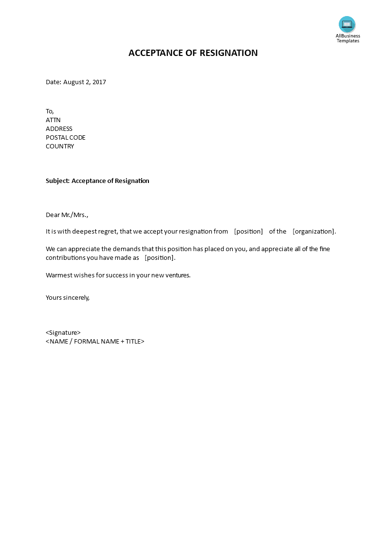 Acceptance Of Resignation Letter  Do You Need A Letter Of