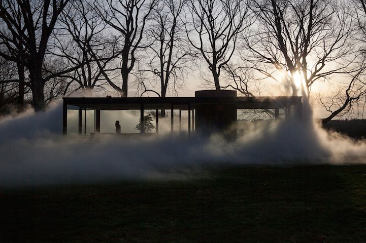 Philip Johnson transformed by Japanese artist Fujiko Nakaya's installation - Veil.