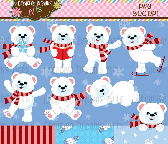 polar bear digital clip art instant download products. Black Bedroom Furniture Sets. Home Design Ideas