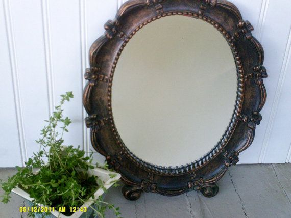Vintage  Oval Mirror Coppercraft Guild Dart Co / by Yesterdis, $29.99