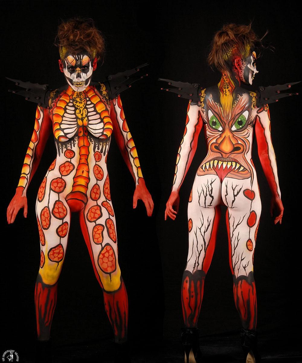 UK Bodypaint League. Theme: The Light and the Dark. Artist: Fran Heaver. Model: Gracie Rebekah Williams. Photographer: Roy Rookes
