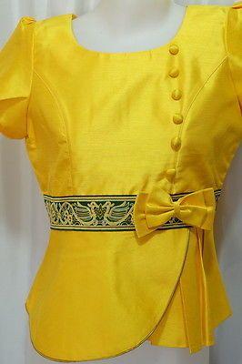 Yellow Lao Laos Silk Short Sleeve Button Down Shirt Blouse Tops Sz