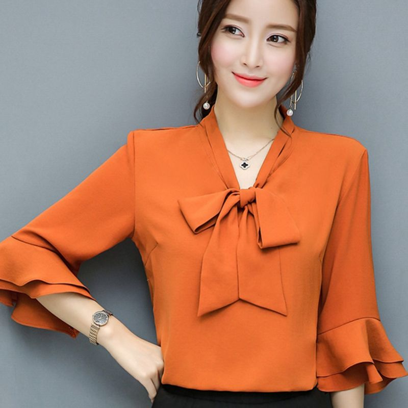 e48d009b632 Bow Deor Lady Chiffon Blouses Plus Size Butterfly Sleeve Tops 2017 Elegant  Women Casual White Shirts