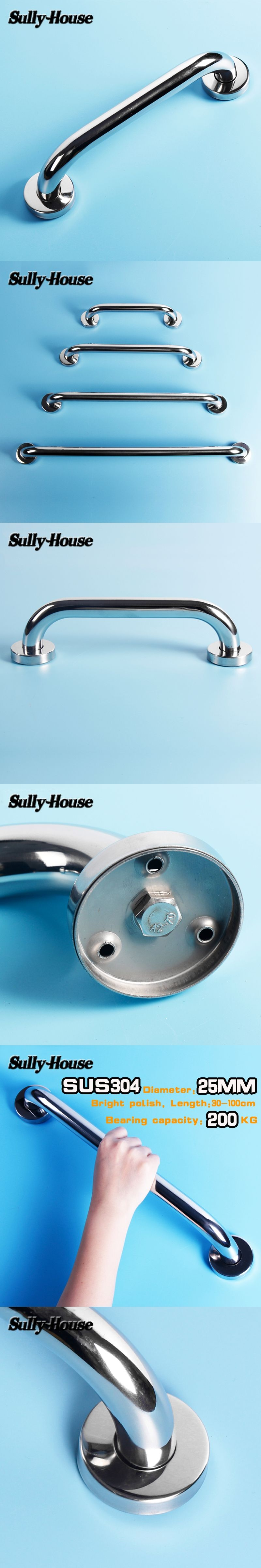 Sully House 304 Stainless Steel Bathroom Safety Handrail, Wall Mount ...