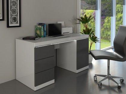 Bureau loic mdf laqué blanc & gris 1 porte & 3 tiroirs leds