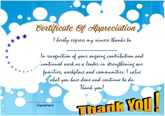 Thank you for your service certificate template Thank you - thank you certificate template