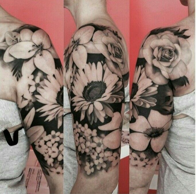 Black And White 3d Floral Tattoo On Left Half Sleeve Tattoo Ideas