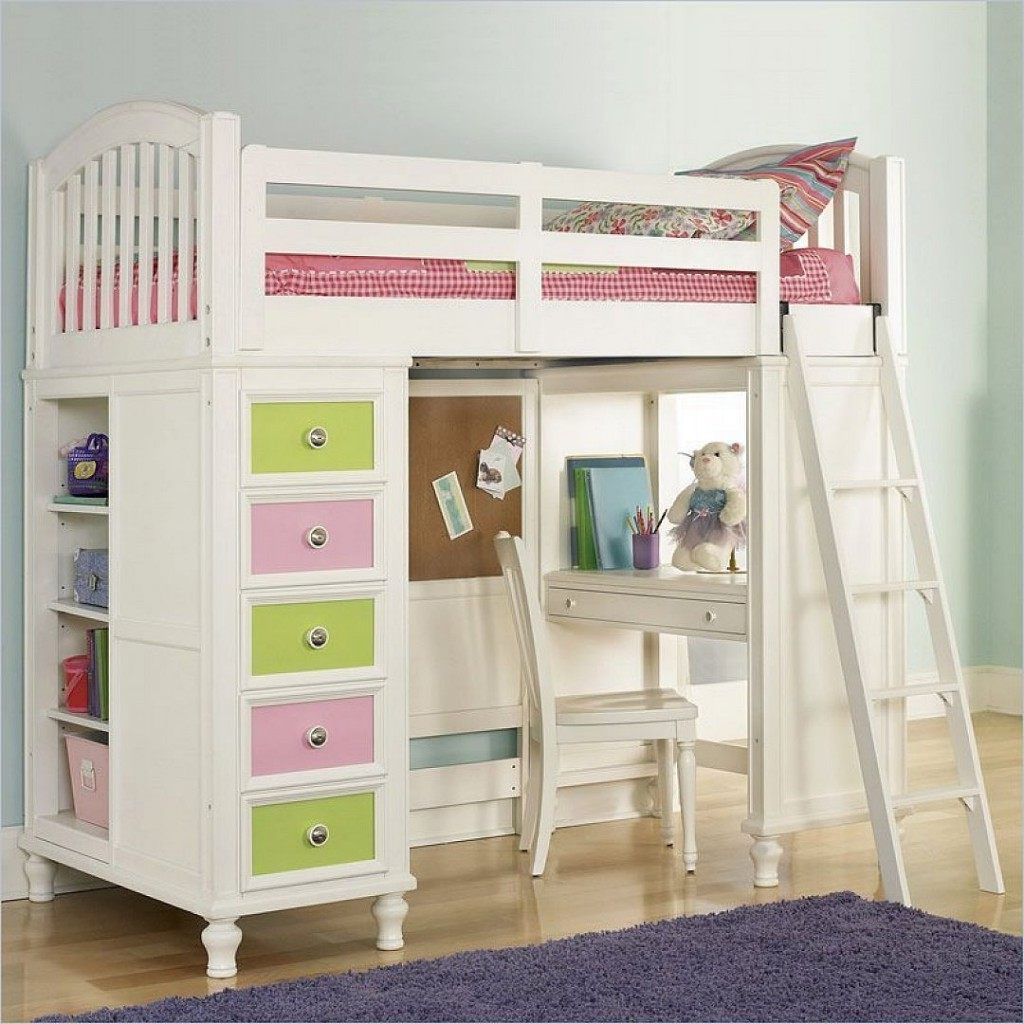Full Size Loft Bed With Desk Study Combined The Bedding Ladder Open Storage Underneath