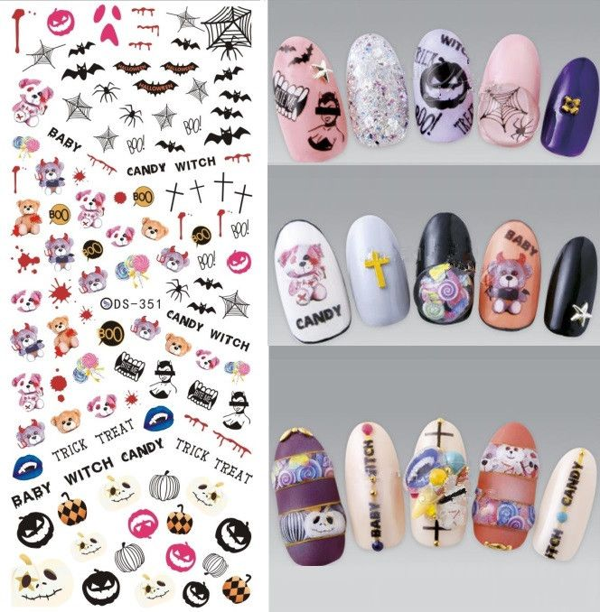 Ds351 Diy Water Transfer Nails Art Sticker Halloween Cartoon Baby Watch Bear Spider Nail Wrap Sticker Tips Manicura S Halloween Nail Art Nail Art Nail Stickers