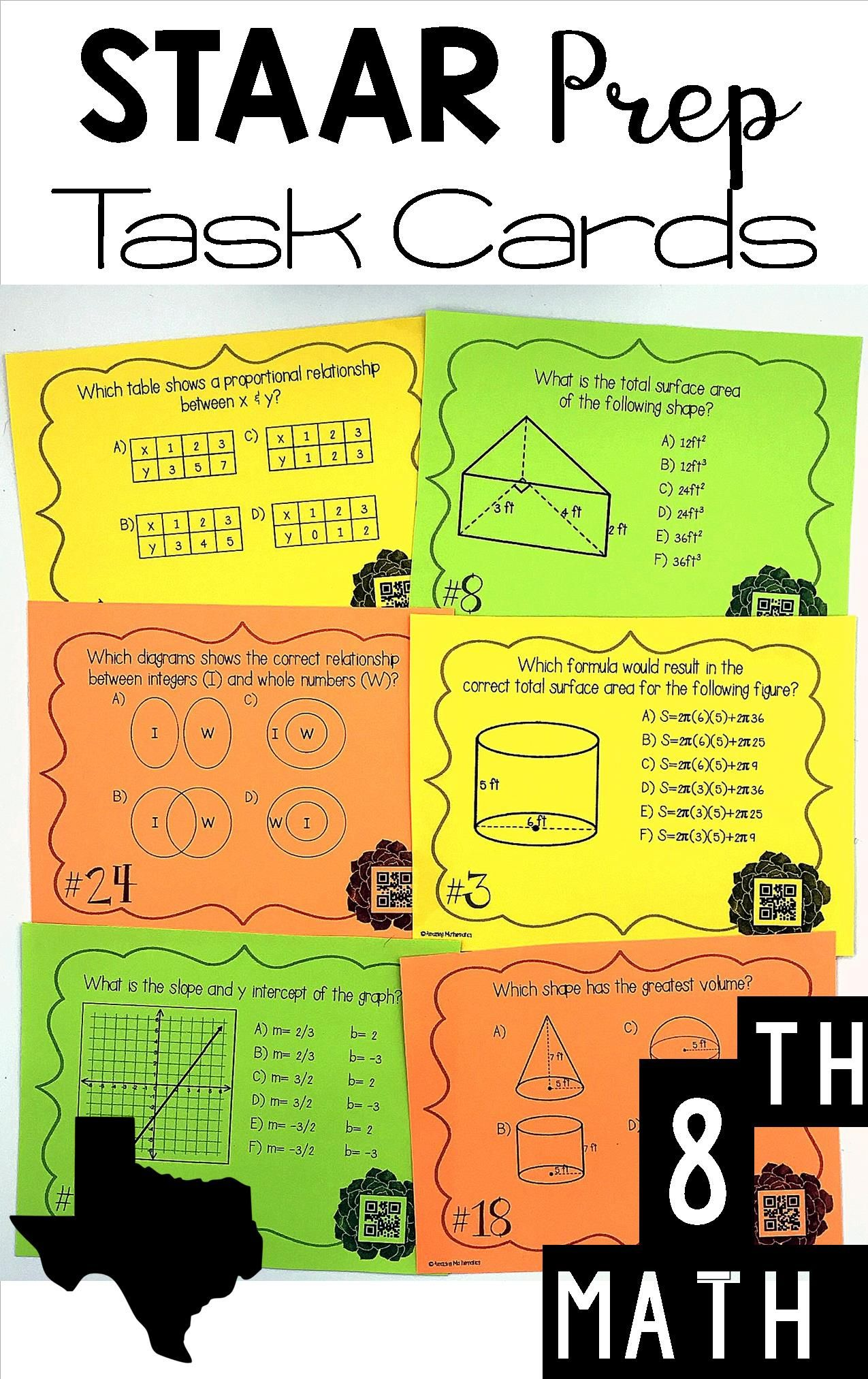 Top Rated 1 Selling Staar Prep Task Cards For 8th Grade Math My Students Were So Engaged Last Year When I Used T Staar Math Staar Review Math 8th Grade Math [ 2025 x 1275 Pixel ]