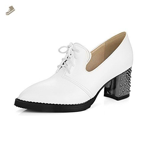 Womens Bandage Lace Platform Chunky Heels White Imitated Leather Boots - 8 B(M) US