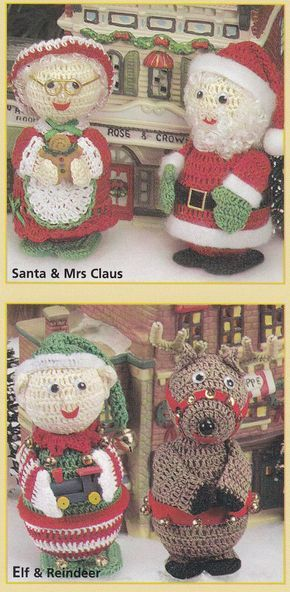Christmas Ornament Crochet Patterns Elf, Santa and more