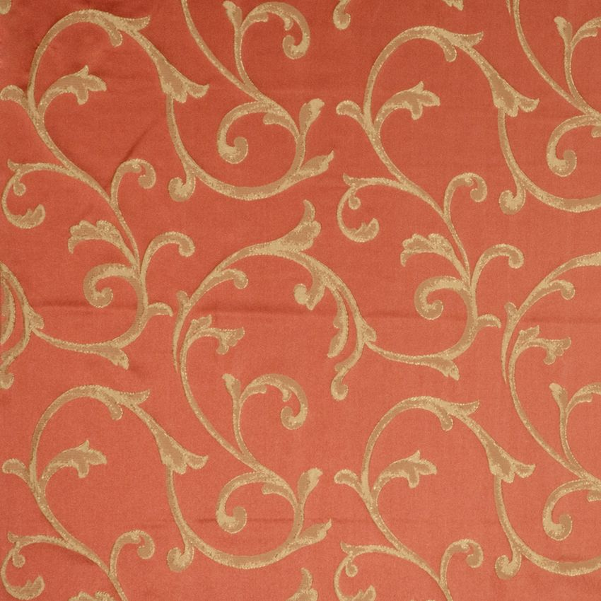 Ginger Orange Jacobean Faux Silk Drapery And Upholstery Fabric