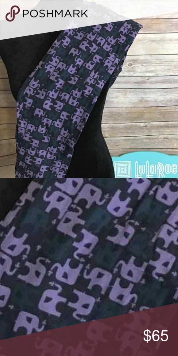 06a8122dddeb08 SALEBNWT TC LULAROE ELEPHANT LEGGINGS! Solid Black Leggings with Purple and  grey Elephants! Smoke free pet free home. Ships in 24hrs with tracking  number!