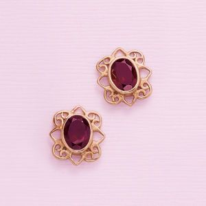 Garnet and Rose Gold Over Sterling Earrings