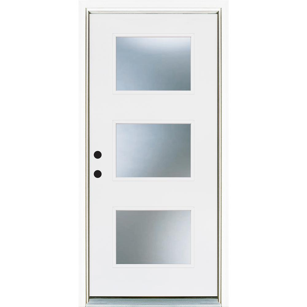 Mp Doors 36 In X 80 In Smooth White Right Hand Inswing 3 Lite Frosted Finished Fiberglass Prehung Fron In 2020 Brick Exterior House Fiberglass Entry Doors Front Door