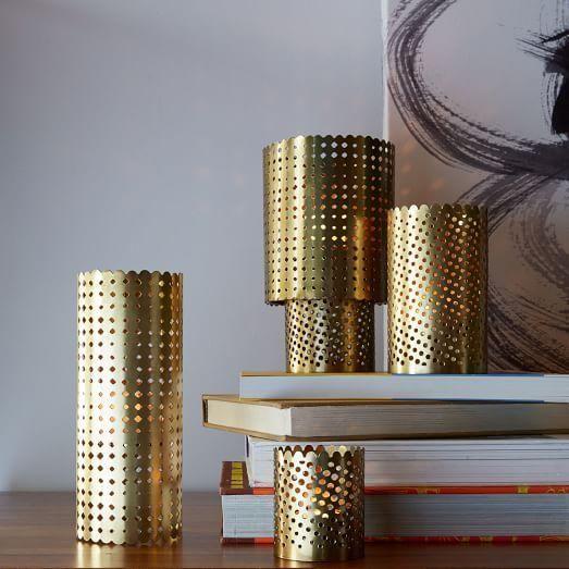 Pierced Bronze Metal Lanterns