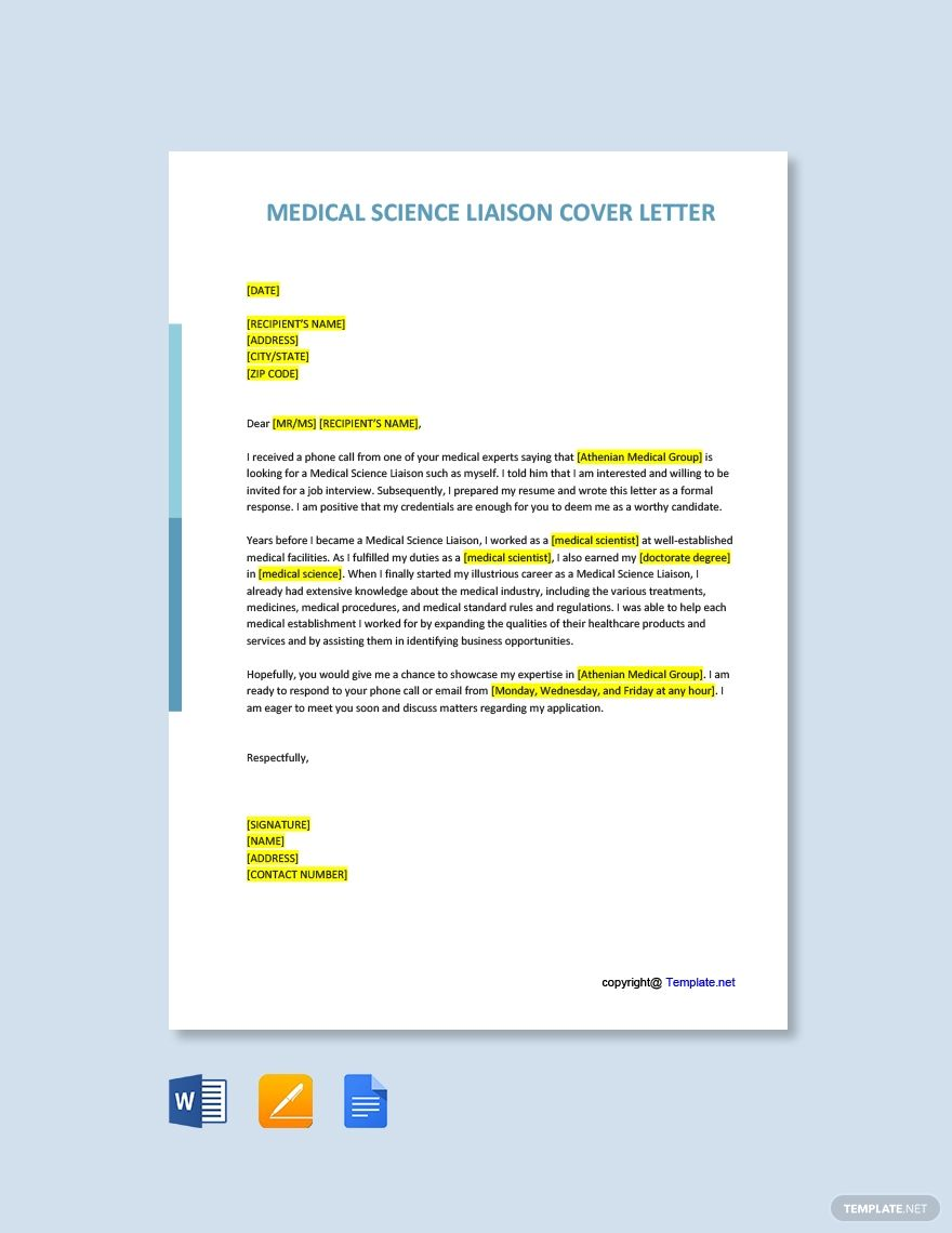 Medical Science Liaison Cover Letter Template Free Pdf Word Apple Pages Google Docs Cover Letter Template Free Cover Letter Template Brochure Template