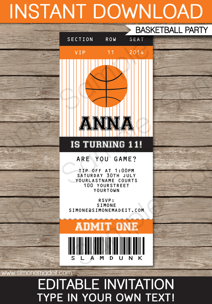 Basketball Ticket Invitation Template | Birthday Party Invitations | Team  Parties | March Madness | Editable  Free Printable Ticket Style Invitations
