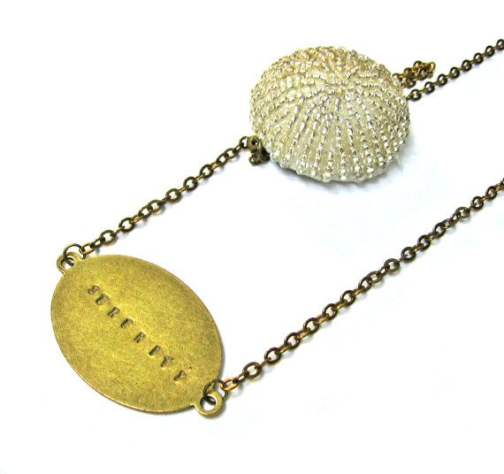 Beaded Sea Urchin in Cream with Metal Stamped by SovereignSea, $45.00