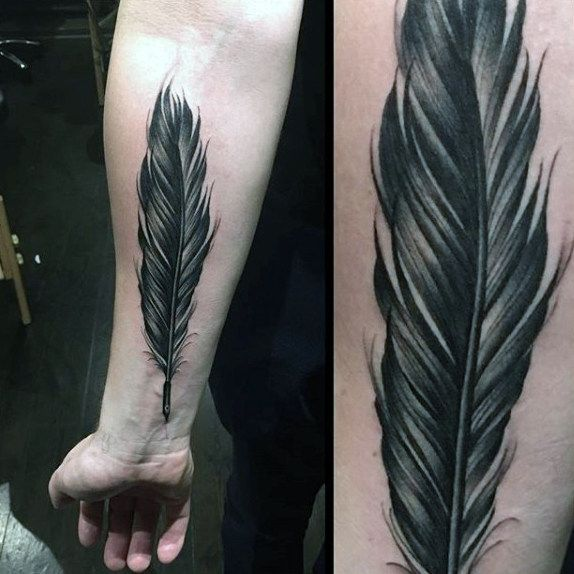 Realistic Mens Dark Feather Tattoo Forearms Feather Tattoo For Men Feather Tattoos Feather Tattoo
