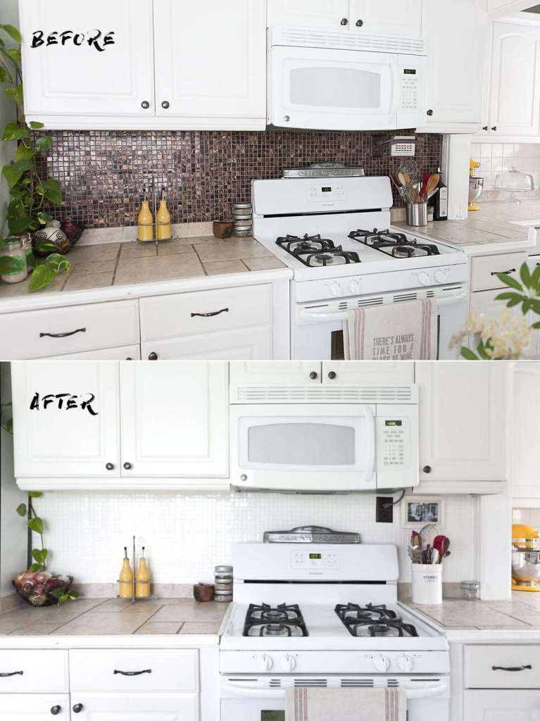 How to Paint a Tile Backsplash is part of Kitchen tiles backsplash, Dark kitchen cabinets, Diy tile backsplash, Painting tile backsplash, Trendy kitchen tile, Ceramic tile backsplash - When we moved into our home, we gradually discovered lots and lots (and lots) of quirky renovations from a time gone by  Our kitchen is the most entertaining  Although a classic selection of white cabinets, bronzed hardware, and a neutral (yet   READ MORE